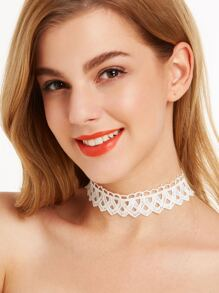 White Stylish Hollow Out Lace Choker