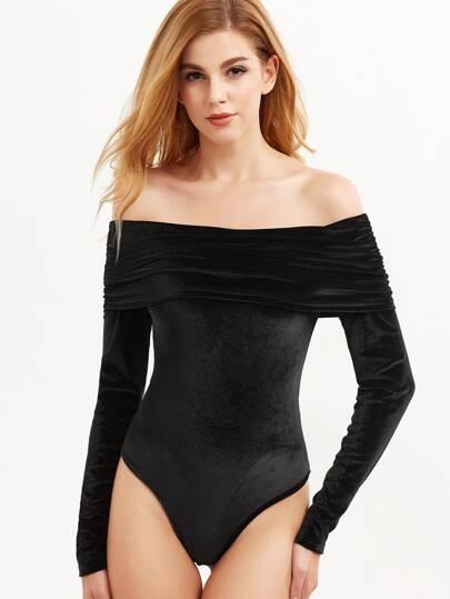 Black Ruched Fold Bardot Velvet Bodysuit