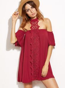 Off Shoulder Lace Trim Halter Neck Dress