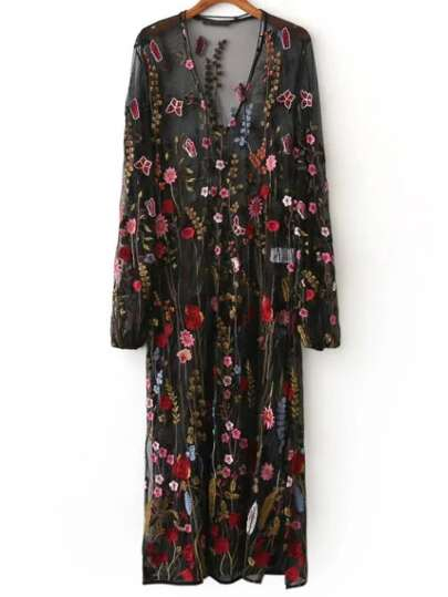 Black Floral Embroidery V Neck Sheer Mesh Maxi Dress