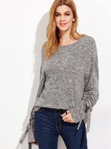 Grey Marled Knit Belted Cuff T-shirt