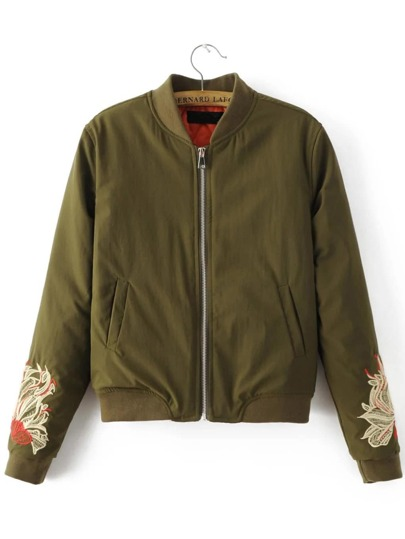 Army Green Floral Embroidery Zipper Up Jacket