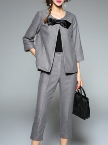 Grey Bowknot Split Top With Pants