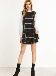 Black Grid Ruffle Collar Contrast Long Sleeve Dress