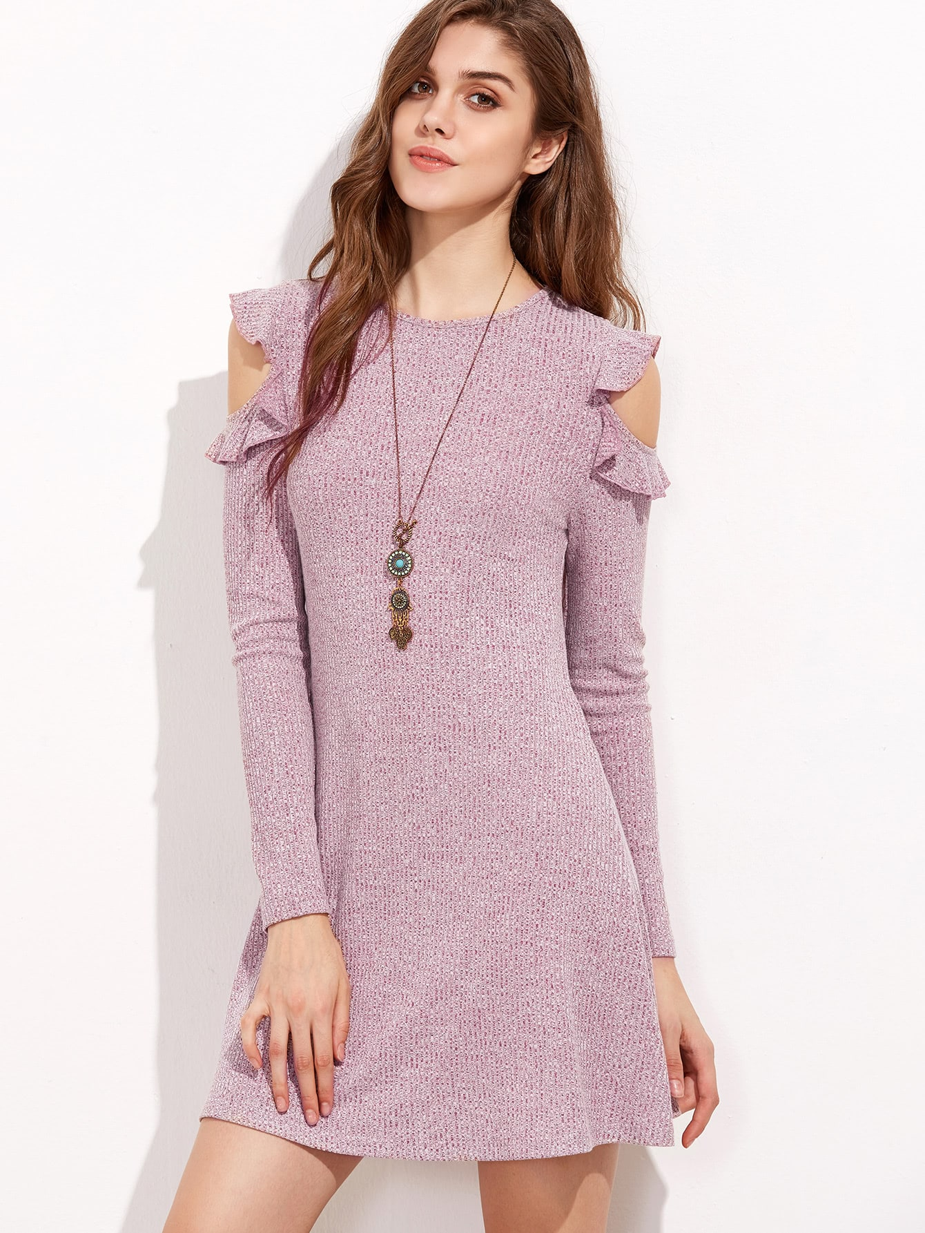 Burgundy Marled Ribbed Knit Ruffle Open Shoulder Dress dress161129705