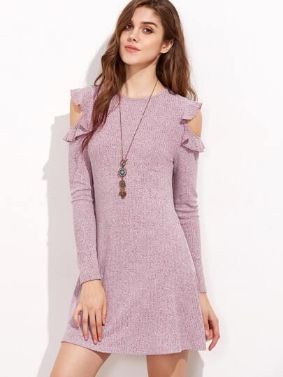 Burgundy Marled Ribbed Knit Ruffle Open Shoulder Dress