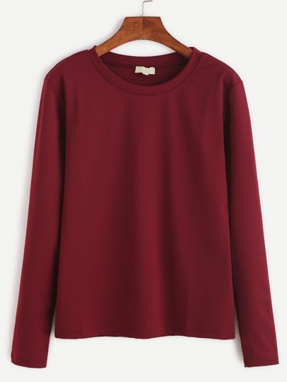 Burgundy Long Sleeve Basic T-shirt