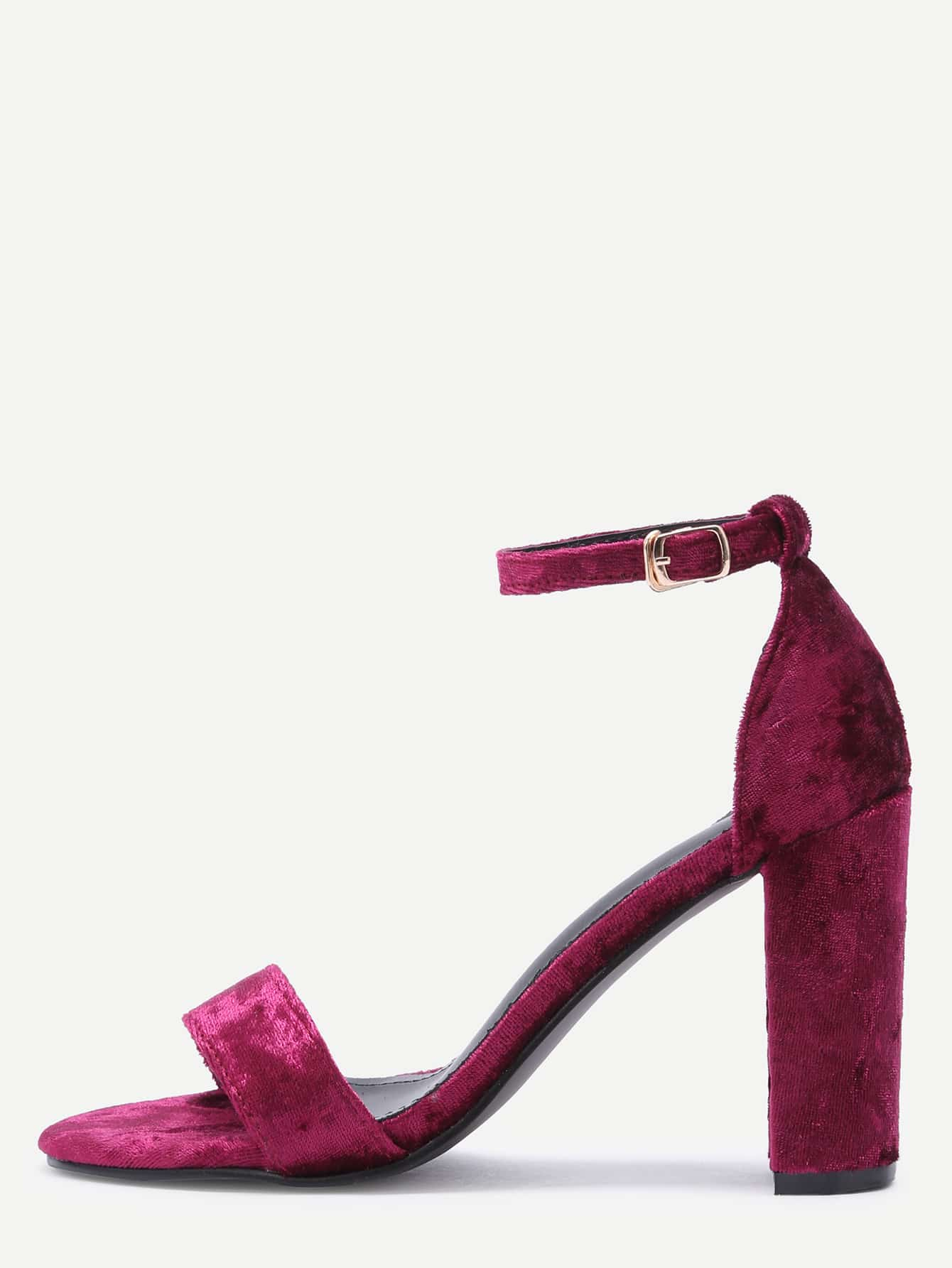 Buy Burgundy Velvet Peep Toe High Heel Mary Jane Shoes