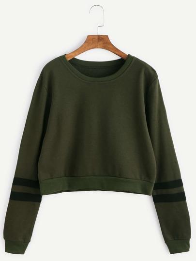 Army Green Varsity Striped Crop Sweatshirt