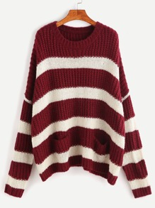 Burgundy And White Striped Double Pocket Front Sweater
