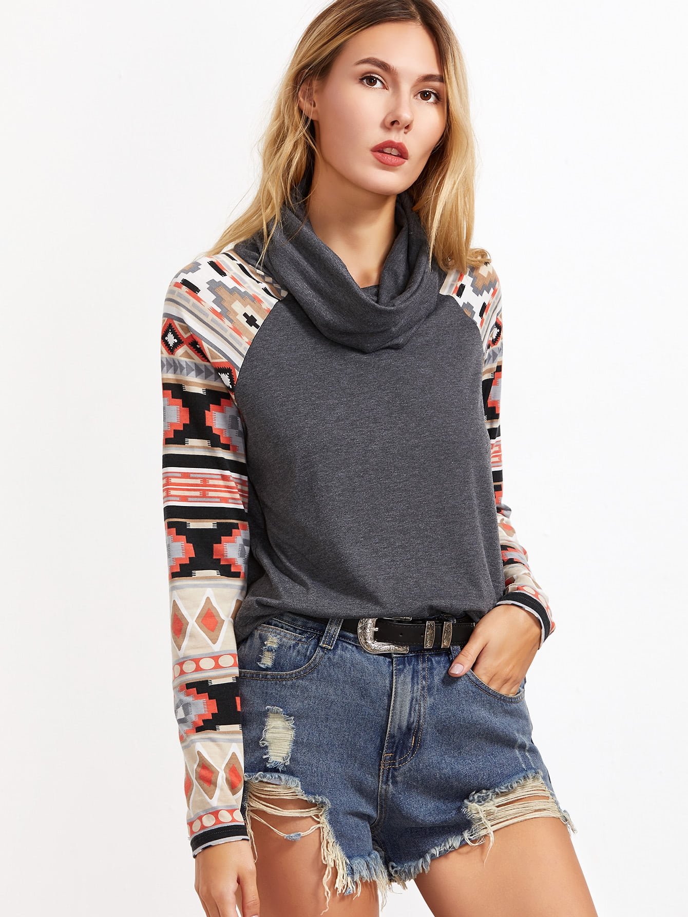 Heather Grey Cowl Neck Tribal Print Raglan Sleeve T-shirtHeather Grey Cowl Neck Tribal Print Raglan Sleeve T-shirt<br><br>color: Grey<br>size: L,M,S,XS