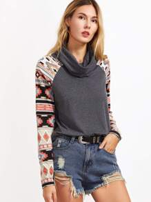 Heather Grey Cowl Neck Tribal Print Raglan Sleeve T-shirt