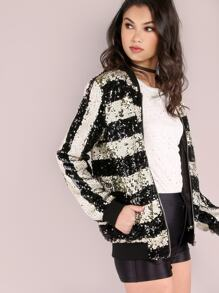 Black And White Striped Zip Up Sequin Bomber Jacket
