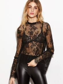 Black Bell Sleeve Scalloped Hem Lace Blouse