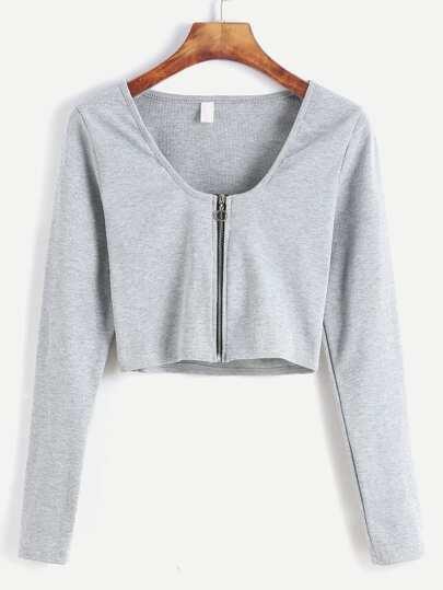 Kurze T-shirt mit Reißverschluss -hell grau