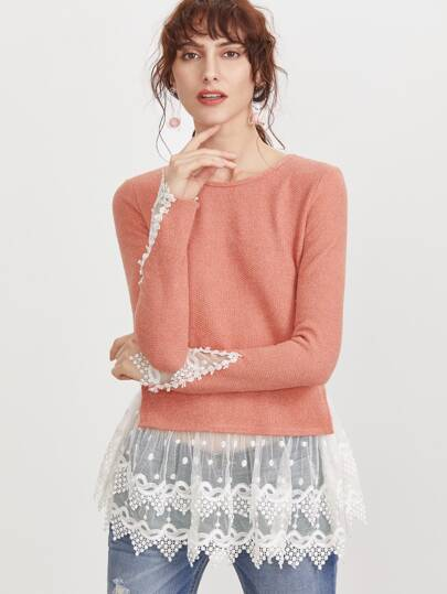 Camiseta con ribete de encaje en contraste - rosa