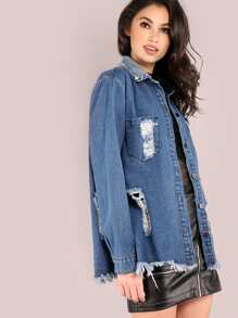 Distressed Denim Shirt Jacket DENIM