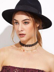 Black Lace Layered Iconic Pendant Choker Necklace
