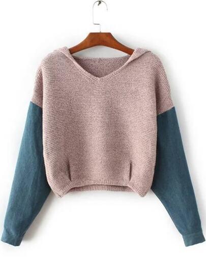 Khaki Hooded Sweater With Contrast Denim Sleeve