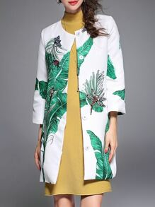 White Leaves Print Dragonfly Beading Dress