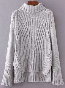 Grey Turtleneck Side Slit Dip Hem Sweater