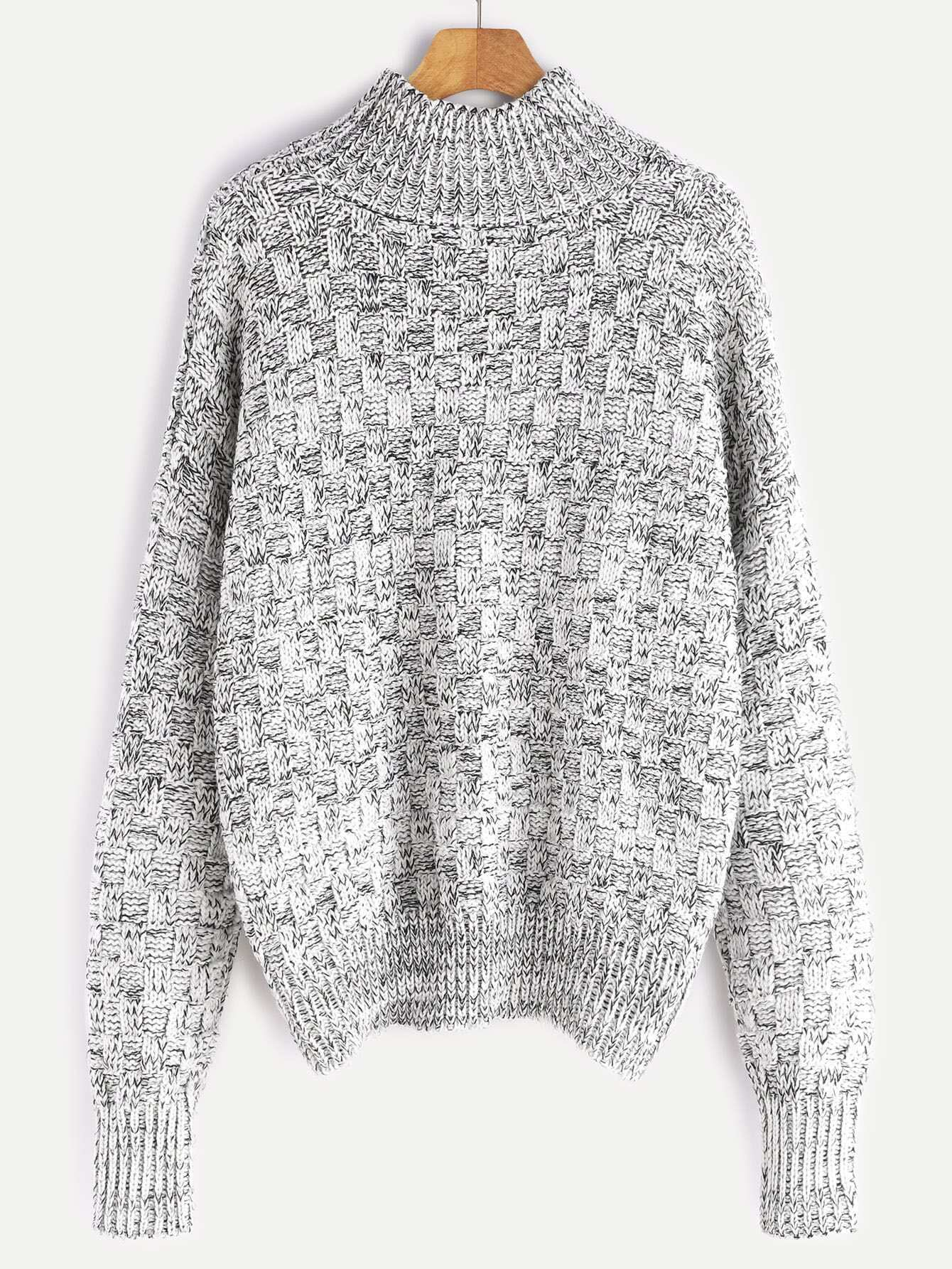 Black And White Marled Square Knit Sweater -SheIn(Sheinside)