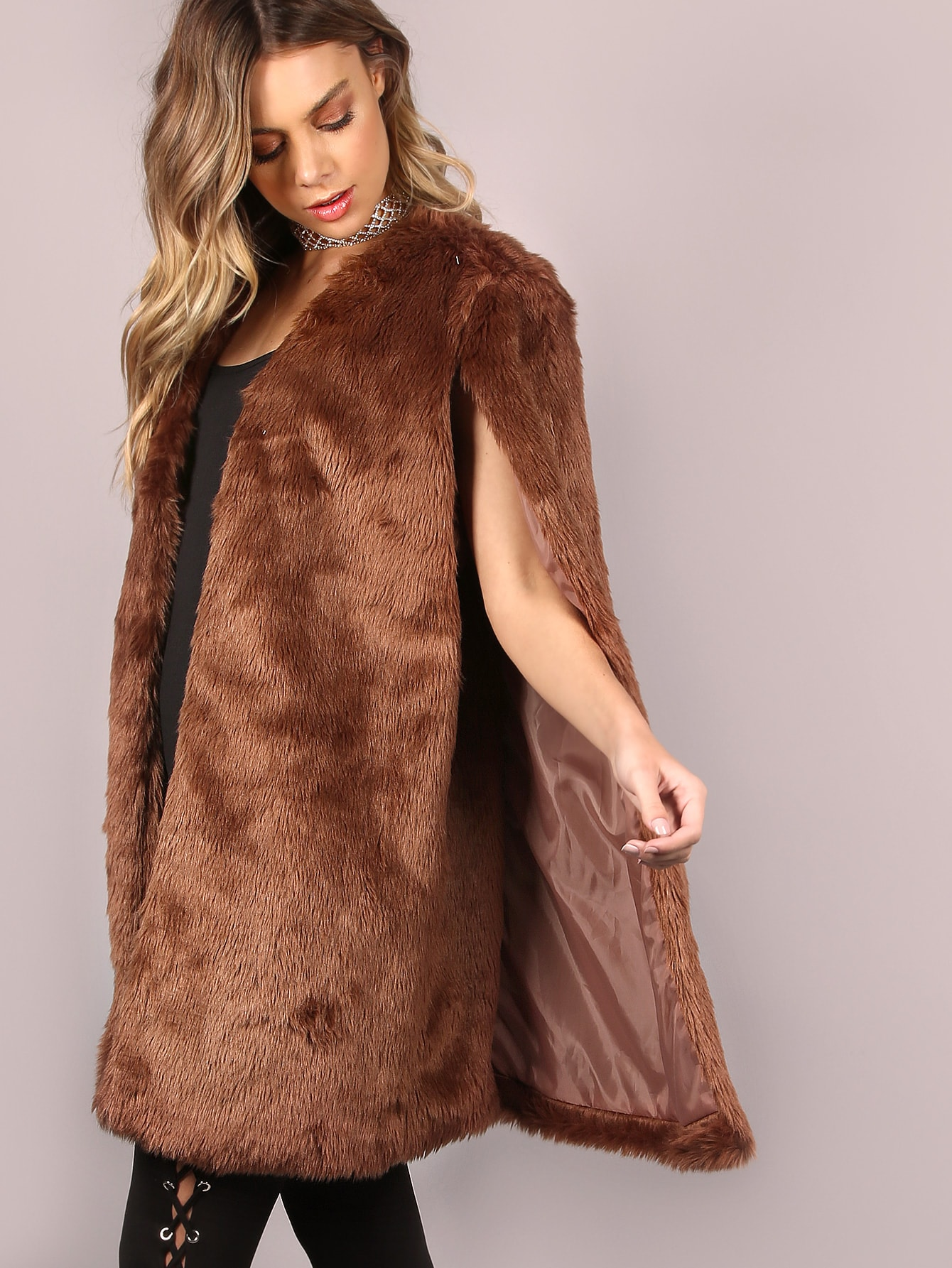 Capes Brown Faux Fur Collarless Elegant Short Winter Plain Fabric has no stretch Outerwear.