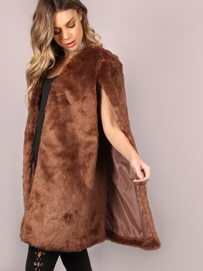 Brown Open Front Faux Fur Cape Coat -SheIn(Sheinside)