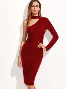 Red One Shoulder Choker Neck Velvet Pencil Dress