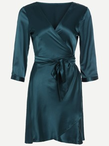 Dark Green V Neck Wrap Tie  Pajamas Dress