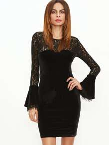 Black Floral Lace Shoulder Bell Sleeve Velvet Dress