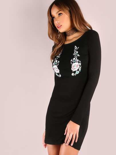 Black Floral Embroidery Long Sleeve Bodycon Dress