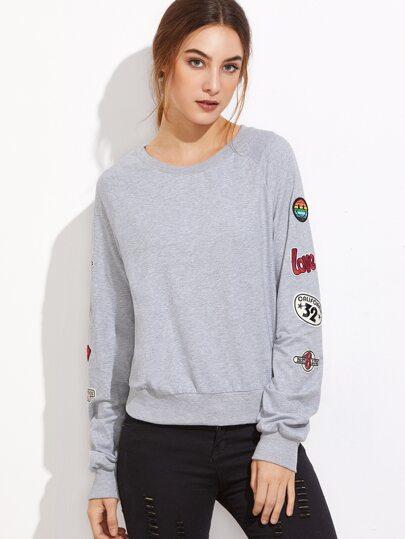 Heather Grey Raglan Sleeve Sweatshirt With Patch Detail