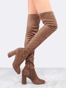 Chunky Heel Faux Suede Boots TAUPE