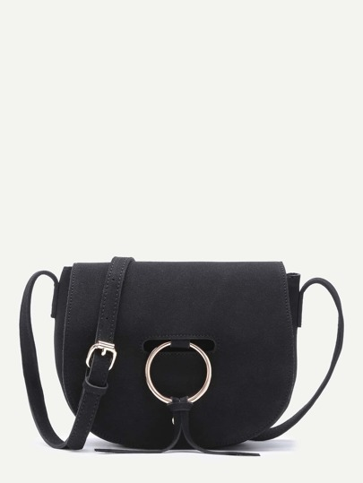 Black Nubuck Leather Metal Ring Flap Saddle Bag