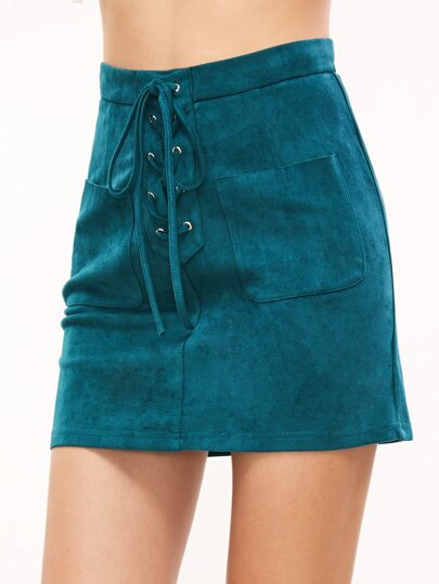 Green Lace Up Front Dual Pocket Suede Skirt