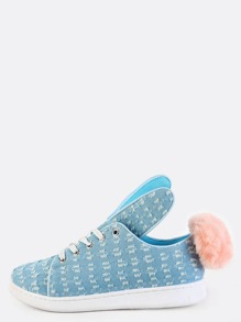 Distressed Pom Pom Sneakers LIGHT BLUE