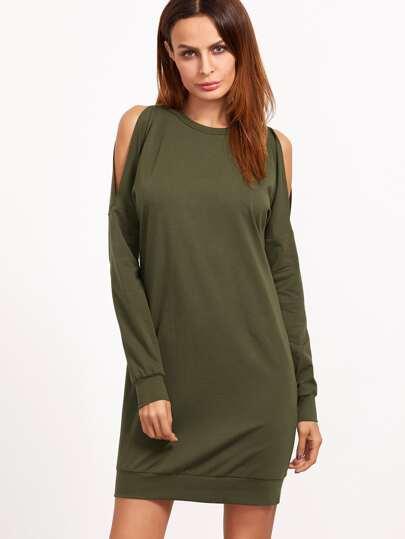 Vestido estilo sudadera con hombros al aire - verde oliva