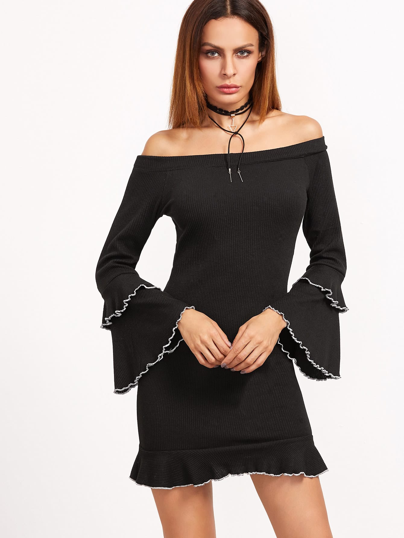 Black Ribbed Knit Off The Shoulder Ruffle Dress dress161123721