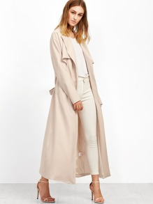 Apricot Wrap Coat With Gun Flap Detail