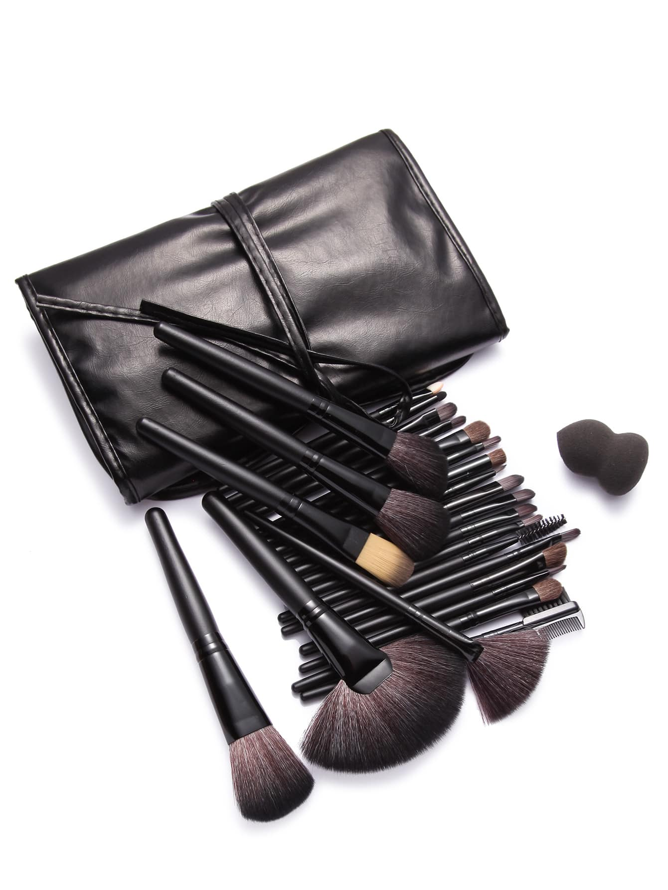 Makeup Brushes And What They Are Used For: 24Pcs Black Professional Makeup Brush Set With Leather Bag