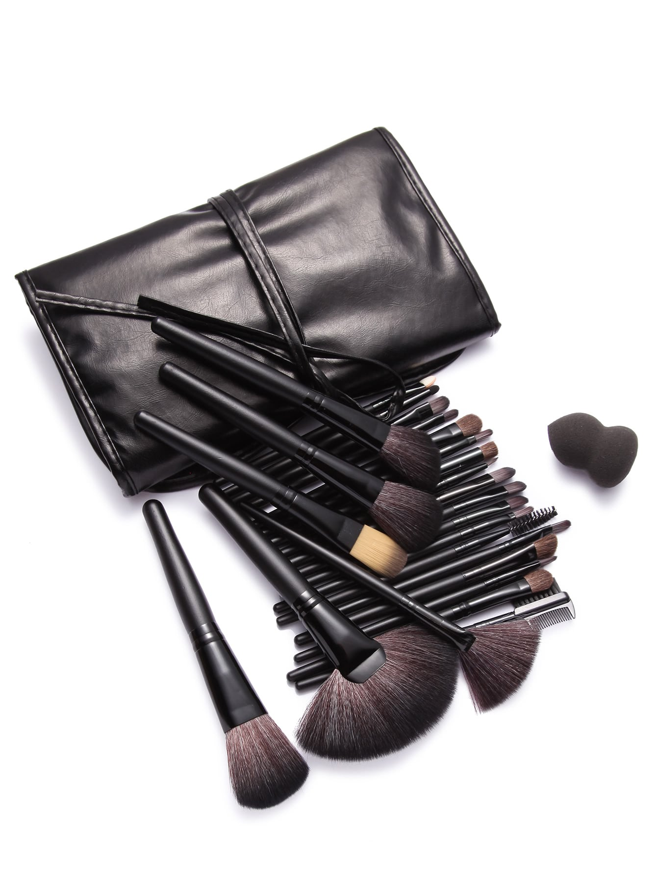 Makeup Brushes Sponge Collection: 24Pcs Black Professional Makeup Brush Set With Leather Bag