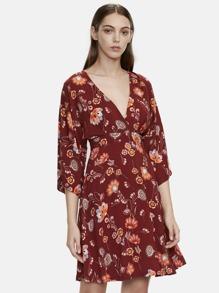 Burgundy V Cut Out Back Zipper Detail Dress