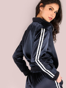 Satin Track Bomber Jacket NAVY