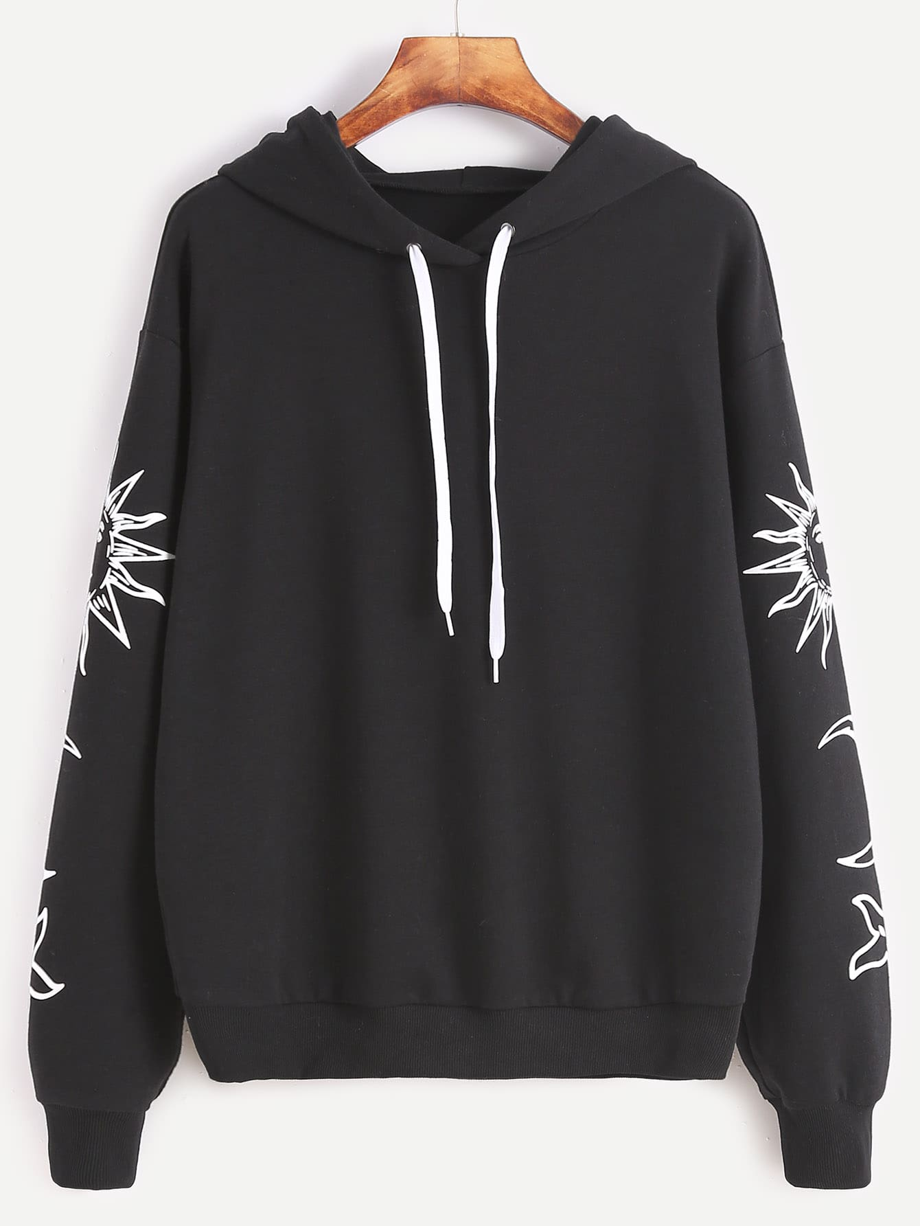 Buy Black Vintage Graphic Print Drop Shoulder Hoodie