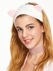 Diadema de terciopelo con orejas de gato