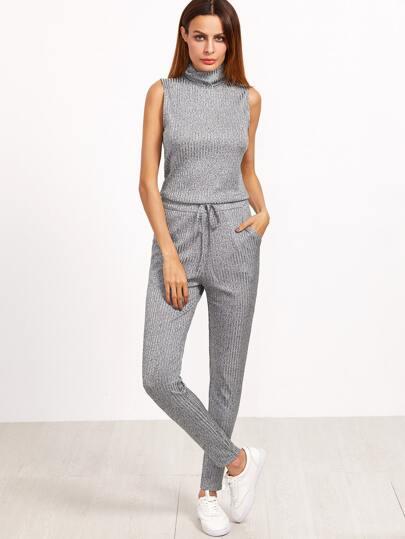 Combinaison martelé à nervures tricoté sans-manches avec cordon -gris