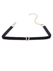 Modern Golden D Velvet Slim Choker Necklace