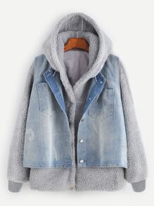 Grey Faux Shearling Hooded Top With Denim Vest
