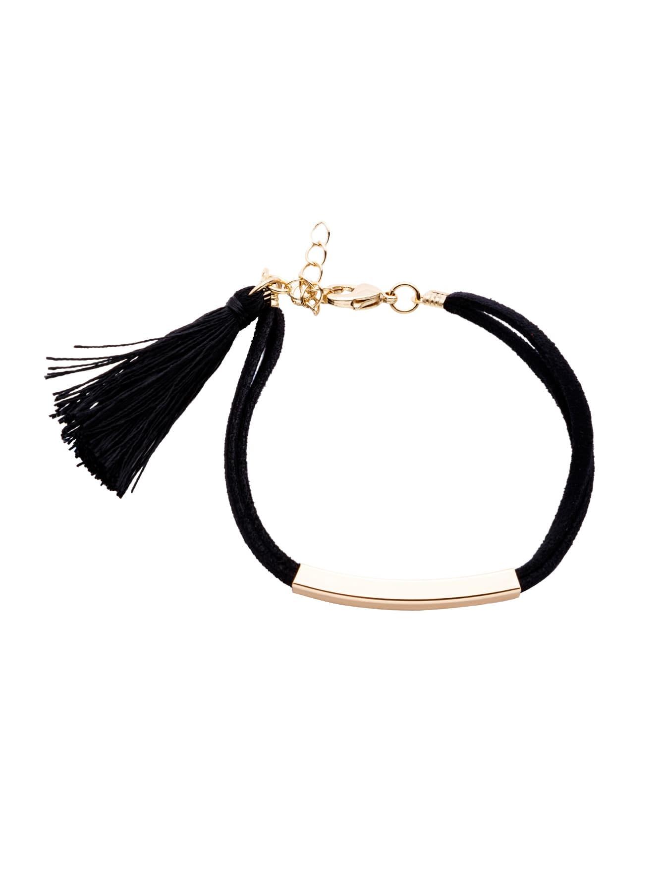 Фото Black Tassel Metal Trim Charm Bracelet. Купить с доставкой
